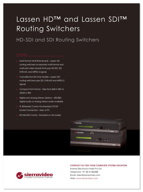 Lassen HD and Lassen HDI Routing Switchers ad
