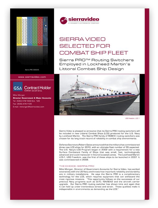 SIERRA VIDEO SELECTED FOR COMBAT SHIP FLEET
